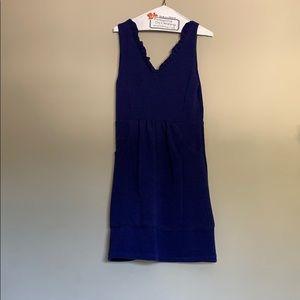 Anthropologie blue knit v-neck pocket dress.